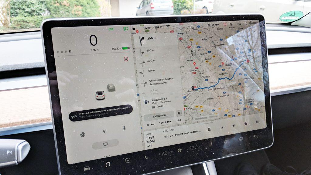 Tesla Model 3 Reichweite beim Start