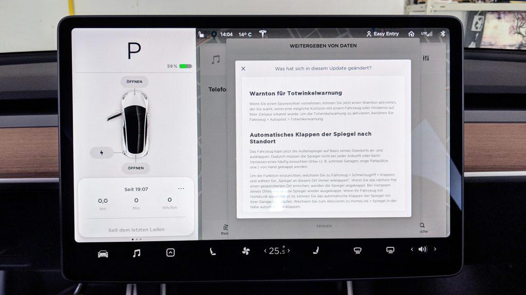 Tesla Model 3 Software 2019.5.25 8301c3d - Bildschirm